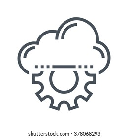 Cloud management icon suitable for info graphics, websites and print media and  interfaces. Line vector icon.