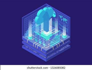 Cloud migration concept with symbol of floating cloud and upload arrow as isometric 3d vector illustration.