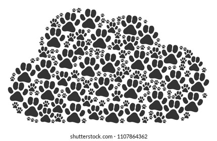 Cloud mosaic composed of paw footprint icons in variable sizes. Abstract vector smoke concept. Paw footprint icons are grouped into cloud shape.