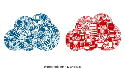 Cloud mosaic icons constructed for bigdata illustrations. Vector cloud mosaics are united from computer, calculator, connections, wi-fi, network icons into abstract collages. Usual and red colors.