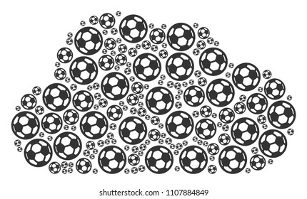 Cloud mosaic made with football ball pictograms in variable sizes. Abstract vector smoke illustration. Football ball icons are grouped into cloud shape.