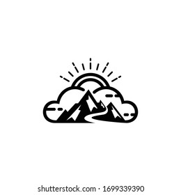 Cloud and Mountain logo vector illustration