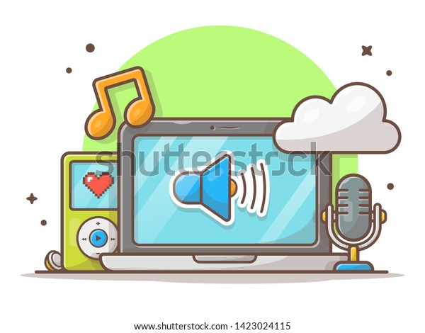 Cloud Music Laptop Microphone Music Player Stock Vector