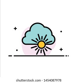 Cloud, Nature, Spring, Sun  Business Flat Line Filled Icon Vector Banner Template