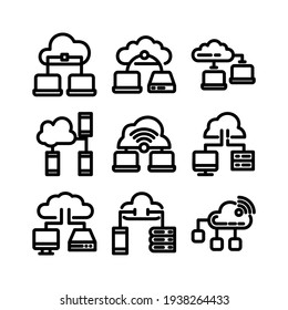 cloud network icon or logo isolated sign symbol vector illustration - Collection of high quality black style vector icons