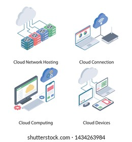 Cloud Network Isometric Vectors Set