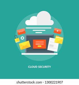 Cloud network, Network Security, Cloud Server, Database flat design vector illustration with icons
