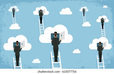 Cloud network surrealism - vector illustration
