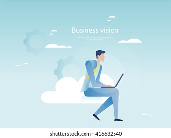 Cloud networking concept. Businessman working on laptop