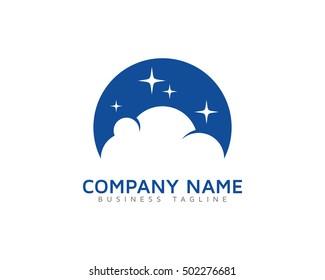 Cloud Night Logo Design Template