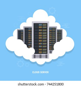 Cloud node Data Center Infrastructure for database server, file server, web server. illustration cloud with rack server with blue background and node box