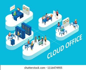 Cloud office concept. Vector isometric illustration of office rooms with personnel on clouds linked by connecting lines.