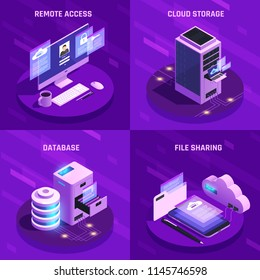 Cloud office glow isometric icons 2x2 design concept with images of desktop computers servers and pictograms vector illustration