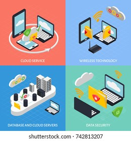 Cloud office isometric concept icons set with database symbols isolated vector illustration