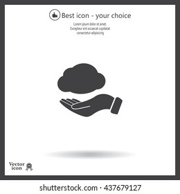 cloud on hand icon, vector illustration. Flat design style