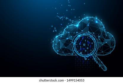 Cloud-Online-Speichertechnologie-Konzept. Datenaustausch mit Big Data ist möglich. Vergrößerungsglas mit Analysedaten