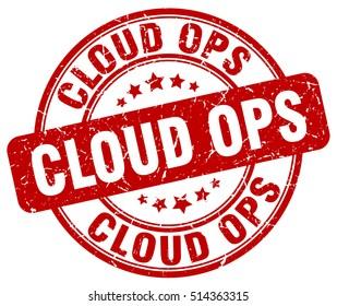 cloud ops stamp.  red round cloud ops grunge vintage stamp. cloud ops