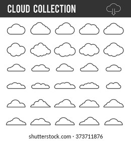 Cloud outline images stock photos vectors shutterstock cloud outline collection vector icon line set template for web design and app voltagebd Choice Image