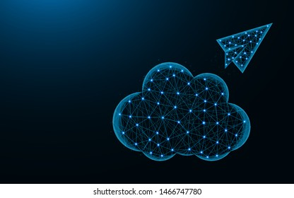 Cloud and paper airplane low poly design, cloud sending abstract geometric image, SEO wireframe mesh polygonal vector illustration made from points and lines on dark blue background