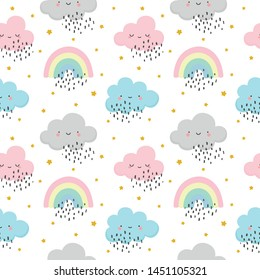 cloud pattern, cute face cloud background, rainbow and stars seamless pattern, cartoon vector illustration, sky background for baby