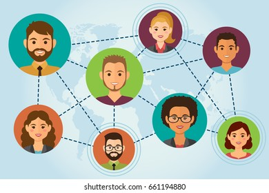Cloud people avatars on blue background with earth. Social media network concept. Vector illustration.