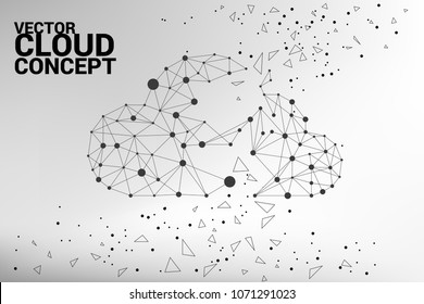 Cloud polygon dot connected line : Concept of cloud server, Storage and data