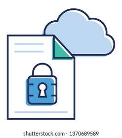 Cloud protection icon in flat vector