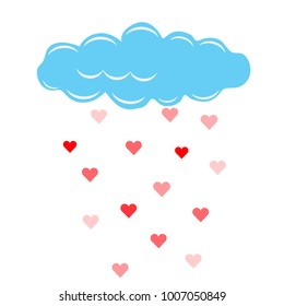 Cloud and rain with hearts. Vector illustration.