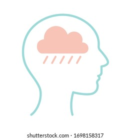 cloud with rain inside human head line style icon design, Mental health mind science intelligence idea medical and education theme Vector illustration
