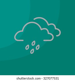 Cloud & rain isolated. Vector art.