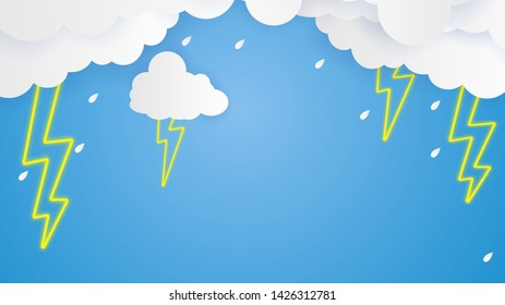 Cloud and rain on blue background heavy rain, rainy season sky and lightning,