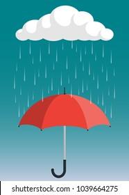 Cloud, rain and opened umbrella in the rain. Flat style vector illustration