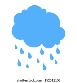 Cloud and rain silhouette blue. Isolated white background. Vector illustration EPS10