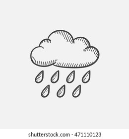 Cloud and rain sketch icon set for web, mobile and infographics. Hand drawn vector isolated icon.