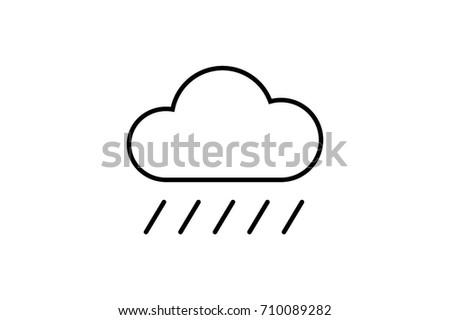 Cloud Rain Vector Flat Pictograph Line Stock Vector (Royalty Free