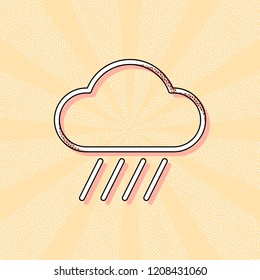 Cloud and rain. Weather simple icon. Linear style. Vintage retro typography with offset printing effect. Dots poster with comics pop art background