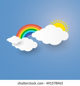 Cloud and Rainbow in the Blue sky with paper art style the concept is summer season or freedom background for you design,vector element  illustration