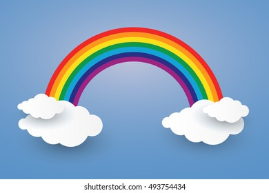 Cloud and Rainbow in blue sky  Paper art Style the concept is season day,vector design element illustration