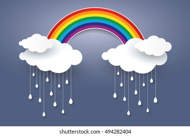 Cloud and Rainbow in blue sky  Paper art style Rainy season concept  ,vector design element illustration