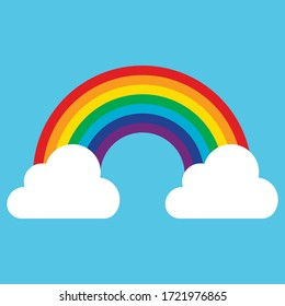 Cloud with rainbow icon isolated on white background. Vector illustration. Eps 10.
