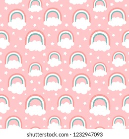 Cloud Rainbow and Star Cute Seamless Pattern, Cartoon Vector Illustration, Nursery Background for Kid