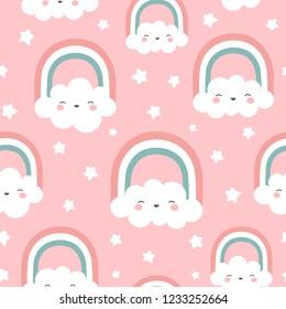 Cloud Rainbow and Star Cute Seamless Pattern, Cartoon Vector Illustration, Nursery Background for Kid