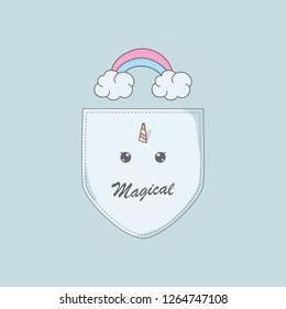 Cloud rainbow unicorn in shirt pocket. Design illustration for cloth print