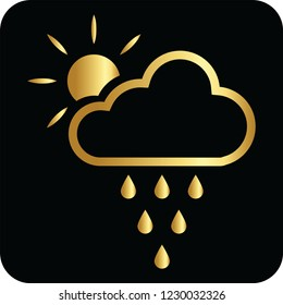cloud rains and sun golden icon for web and print