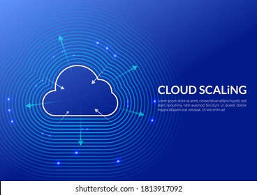 Cloud Scaling Solution. Cloud computing technology is easily handle growing and decreasing demand in usage. This illustration shows a cloud and arrows to maximize or minimize Cloud sizing (Infra).