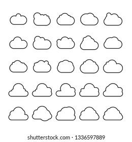 cloud scapes and cloud bubble icons