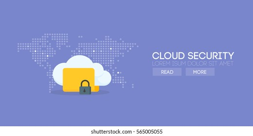 Cloud security banner concept. Map background. Vector illustration.