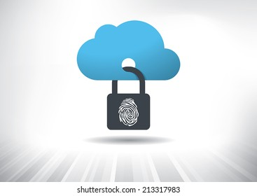 Cloud Security Concept. Cloud icon locked with biometric fingerprint padlock. Layered file for easy customization. Fully scalable vector illustration.