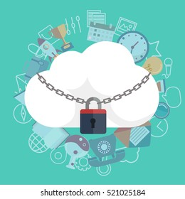 Cloud Security Concept. Cloud icon locked