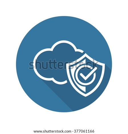 Cloud Security Icon. Flat Design. Business Concept Isolated Illustration.